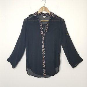 Stella Tweed Black Semi Sheer Blouse Leopard